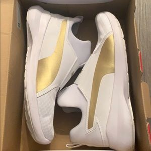 puma rebel mid gold and white